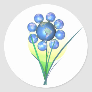 Earthday Flower Classic Round Sticker