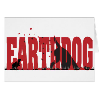 Earthdog Black/Red silhouette Greeting Card
