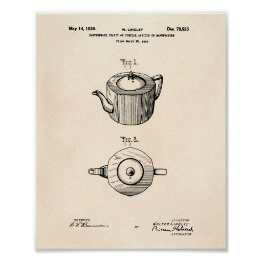 Earthenware Teapot 1929 Patent Art Old Peper Poster