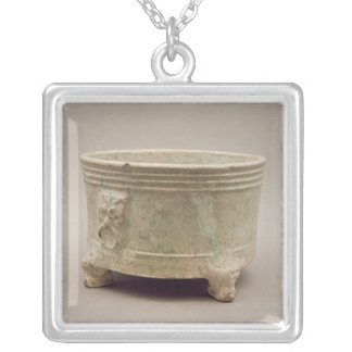 Earthenware tripod vessel silver plated necklace