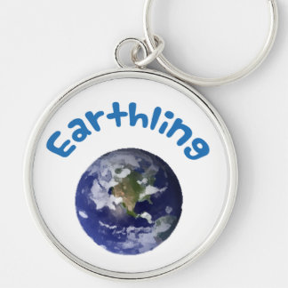 Earthling Silver-Colored Round Key Ring
