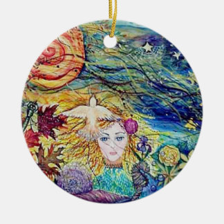 Earthly Delights Fantasy art Round Ceramic Decoration