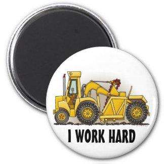 Earthmover Construction Round Magnet I Work