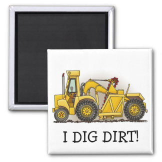 Earthmover Construction Square Magnet I Dig