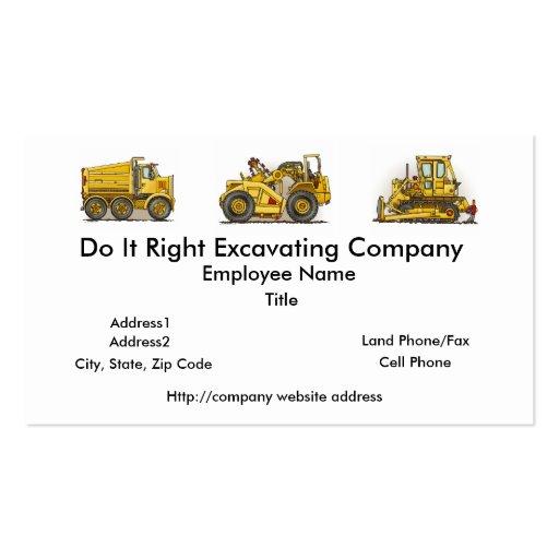 Earthmover Scraper Business Cards