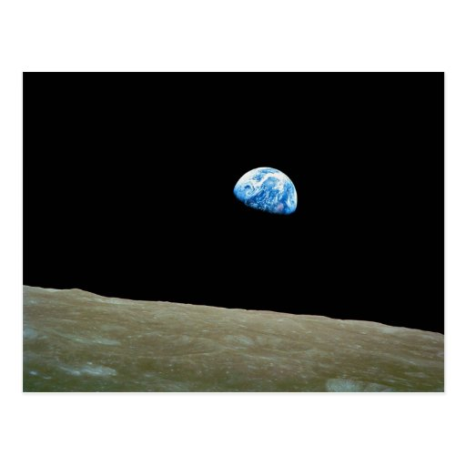 Earthrise taken by the Apollo 8 Mission Post Card