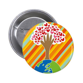 Earth's Hand and Tree of Love Button