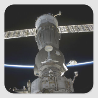 Earth's limb intersects a Soyuz spacecraft Square Sticker