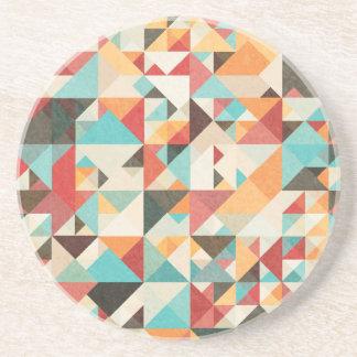 Earthtone Geometric Pattern Beverage Coaster
