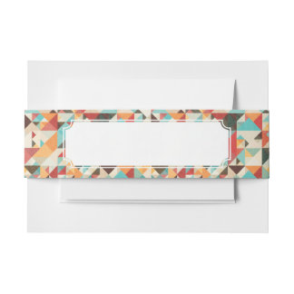 Earthtone Geometric Pattern Invitation Belly Band