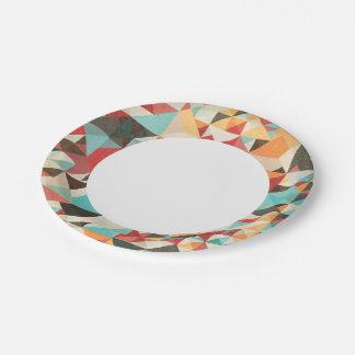 Earthtone Geometric Pattern Paper Plate