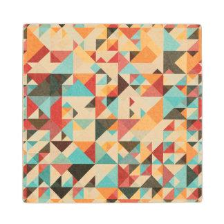 Earthtone Geometric Pattern Wood Coaster