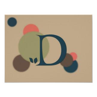 Earthtone Monogram Letter D Flat Note Cards Custom Announcements