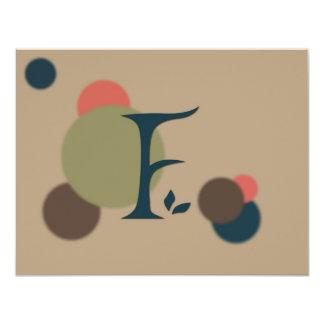 Earthtone Monogram Letter F Flat Note Cards Custom Announcements
