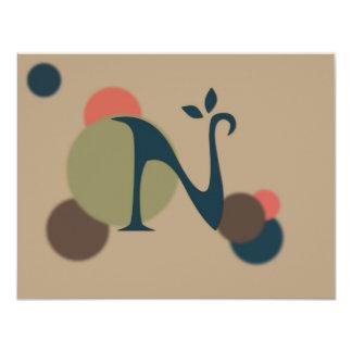 Earthtone Monogram Letter N Flat Note Cards Custom Announcements