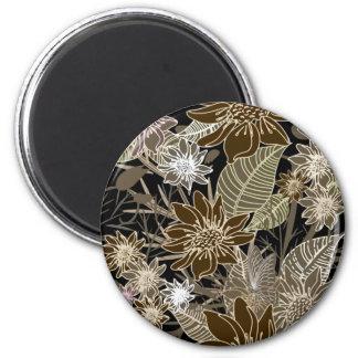 Earthtone Tropical Flowers, Leaves & Butterflies Fridge Magnet