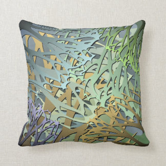Earthy Abstract 3D Look Undergrowth Throw Cushions