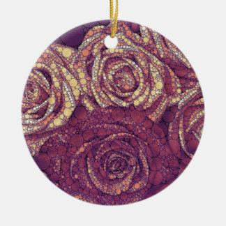 Earthy Abstract Roses Round Ceramic Decoration
