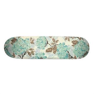 Earthy Aqua Glittery Floral Skate Boards