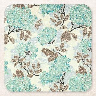 Earthy Aqua Glittery Floral Square Paper Coaster