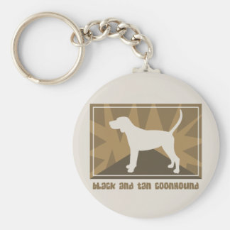 Earthy Black and Tan Coonhound Gifts Key Ring