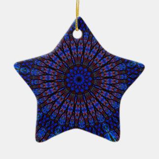 Earthy Blue Fractal Kaleidoscope Ornaments