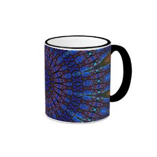 Earthy Blue Fractal Kaleidoscope Ringer Mug