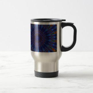 Earthy Blue Fractal Kaleidoscope Stainless Steel Travel Mug
