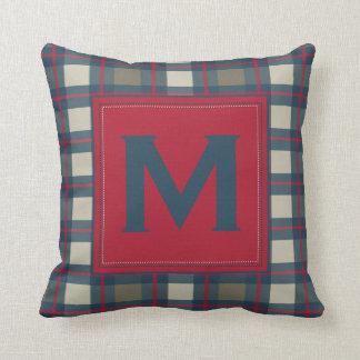 Earthy Blue Khaki Red Monogram Plaid Pillow
