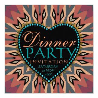 Earthy Bohemian LoveHeart Dinner Party Invitations
