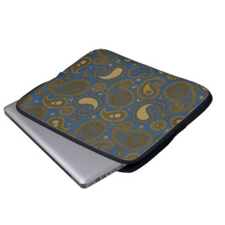 Earthy Brown Paisley pattern on blue fabric Laptop Sleeve