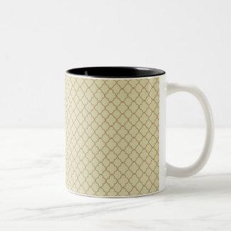 Earthy Brown Quatrefoil on Gold Two-Tone Mug