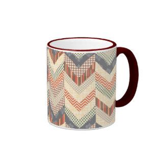 Earthy Chevron Borders Ringer Mug