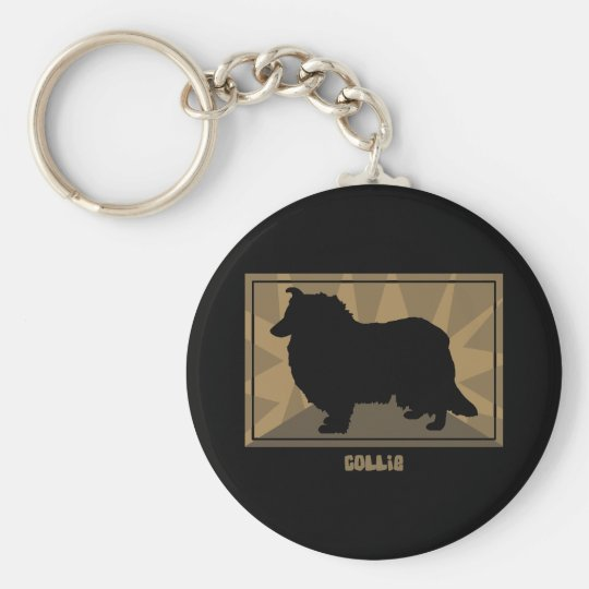 Earthy Collie Basic Round Button Key Ring