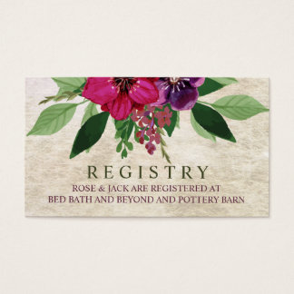 Earthy, Cranberry-Plum Wedding Registry Card