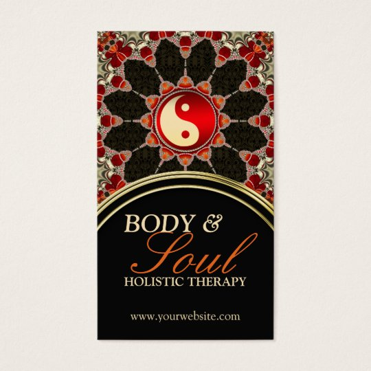 Earthy Flower New Age YinYang Business Card