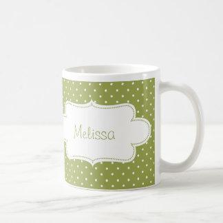 Earthy Green Polka Dots with Label Basic White Mug