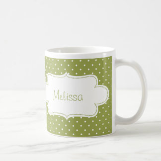 Earthy Green Polka Dots with Label Mugs