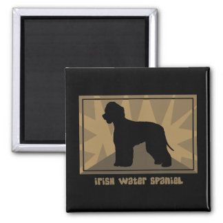 Earthy Irish Water Spaniel Square Magnet
