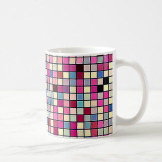 Earthy Pastels Square Tiles Pattern Basic White Mug