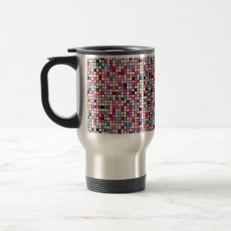 Earthy Pastels Square Tiles Pattern Stainless Steel Travel Mug