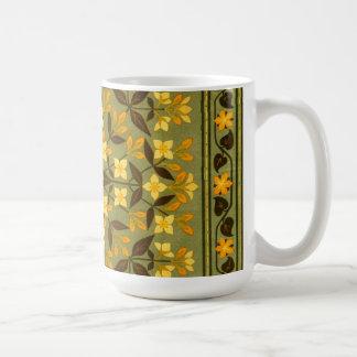Earthy Teal Floral Textile Basic White Mug
