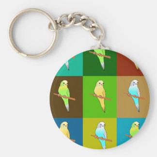 Earthy Tones Budgies Tiles Design Basic Round Button Key Ring