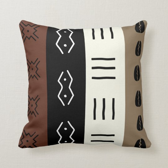 Earthy Tones Mudprint Stripes Pattern Throw Pillow