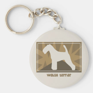 Earthy Welsh Terrier Basic Round Button Key Ring