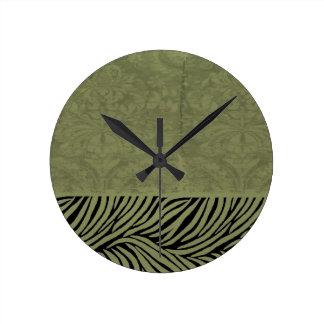 Earthy Zebra Print Round Clock