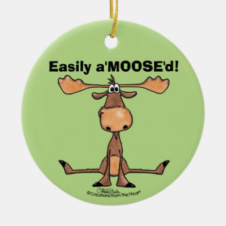 "Easily A'Moose""d Round Ceramic Decoration"