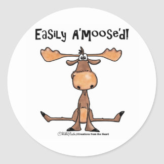 Easily Amoosed!-Sitting Moose Classic Round Sticker