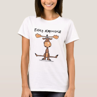 Easily Amoosed!-Sitting Moose T-Shirt