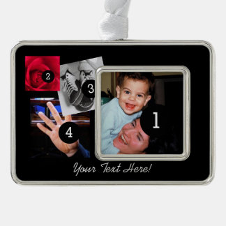 Easily Make Your Own Photo Display with 4 photos Silver Plated Framed Ornament